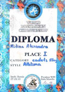 Диплом чемпионки мира по панкратиону